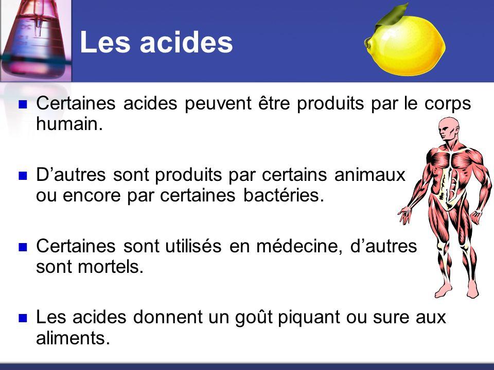 Les acides Certaines acides peuvent être produits par le corps humain. Dautres sont produits par certains animaux ou encore par certaines bactéries. C