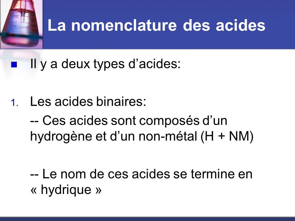 La nomenclature des acides Il y a deux types dacides: 1. Les acides binaires: -- Ces acides sont composés dun hydrogène et dun non-métal (H + NM) -- L