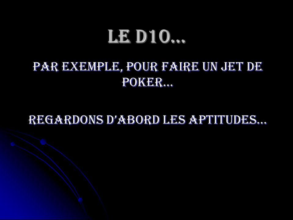 Par exemple, pour faire un jet de poker… Regardons dabord les aptitudes…