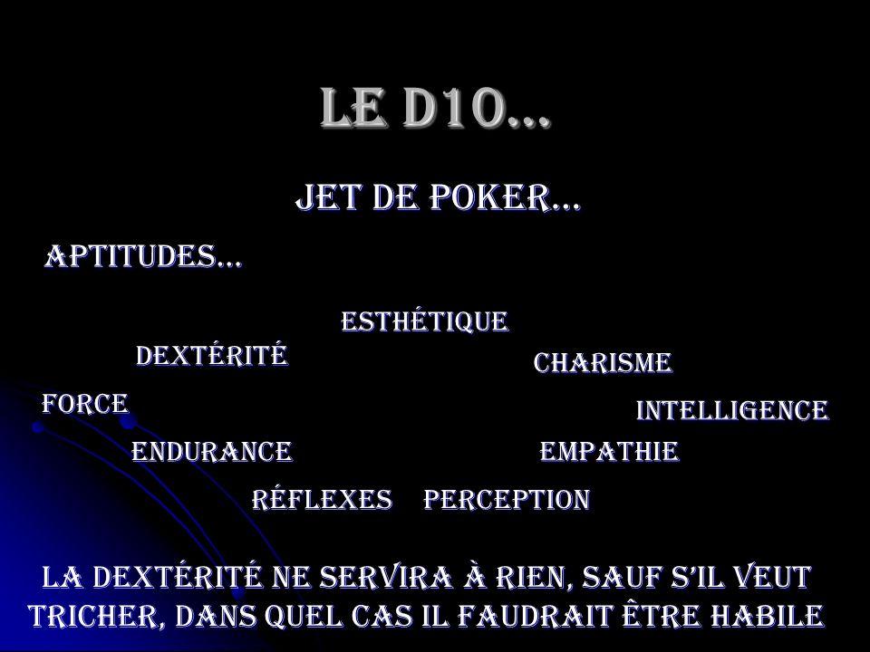 Le D10… jet de poker… Force Endurance Dextérité Esthétique RéflexesPerception Charisme Empathie Intelligence Aptitudes… La dextérité ne servira à rien
