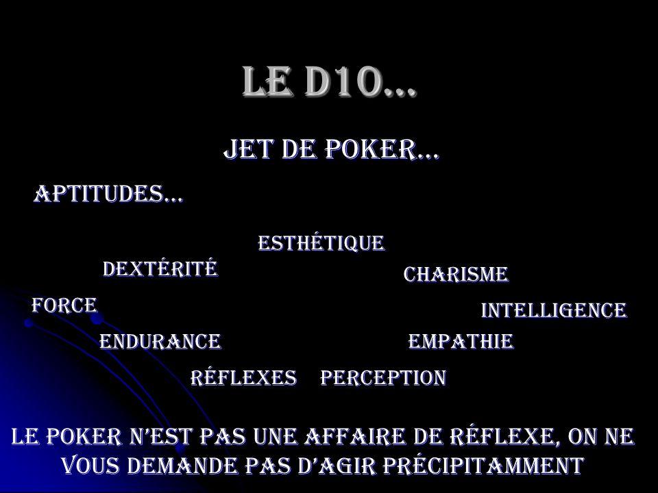 Le D10… jet de poker… Force Endurance Dextérité Esthétique RéflexesPerception Charisme Empathie Intelligence Aptitudes… Le poker nest pas une affaire