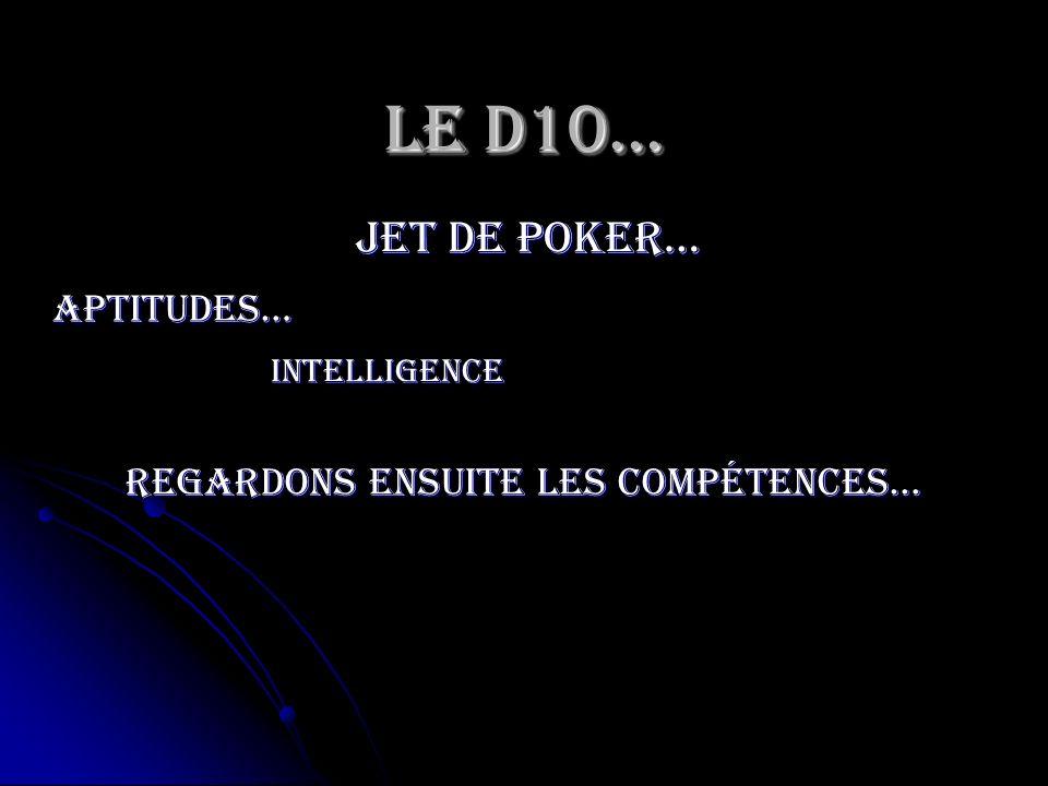 Le D10… jet de poker… Intelligence Aptitudes… Regardons ensuite les compétences…