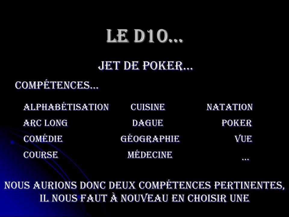 Le D10… jet de poker… Poker Compétences… Arc long médecine Comédie cuisine vue course géographie dague … natationAlphabétisation Nous aurions donc deu