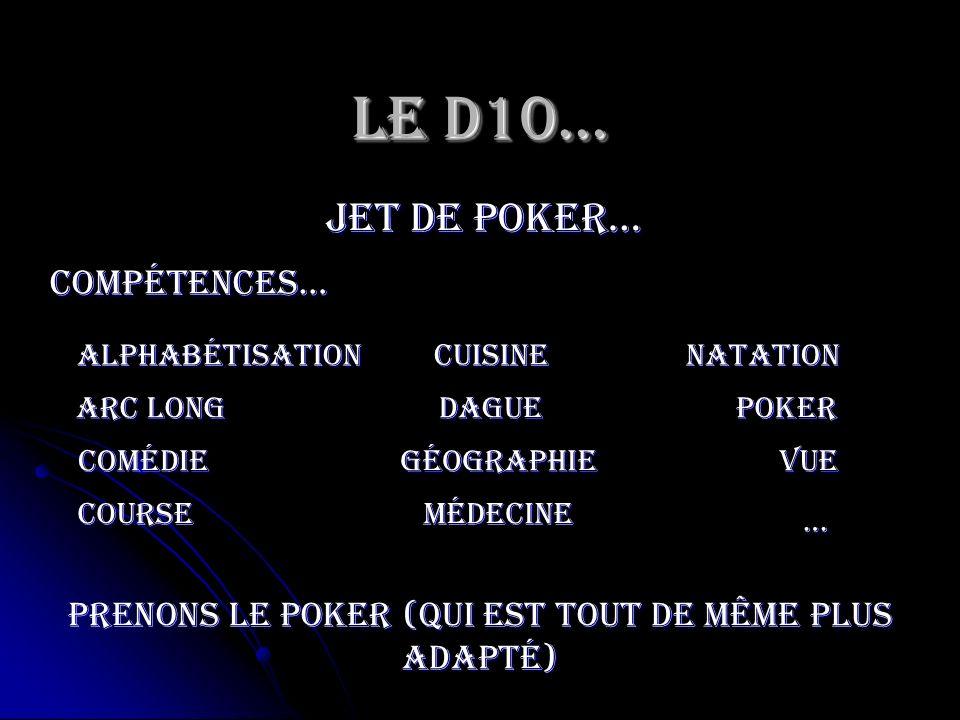 Le D10… jet de poker… Poker Compétences… Arc long médecine Comédie cuisine vue course géographie dague … natationAlphabétisation Prenons le poker (qui