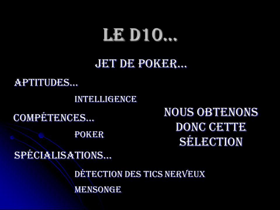 Le D10… jet de poker… Intelligence Aptitudes… Nous obtenons donc cette sélection compétences… poker spécialisations… Détection des tics nerveux menson
