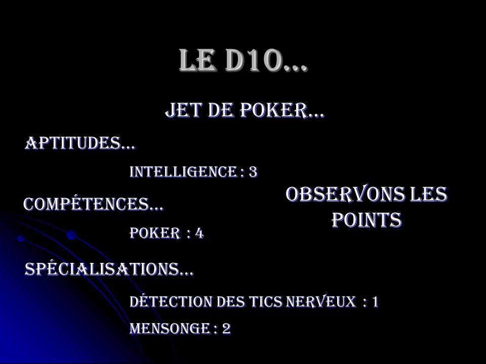 Le D10… jet de poker… Intelligence Aptitudes… Observons les points compétences… Poker spécialisations… Détection des tics nerveux Mensonge : 3 : 4 : 1