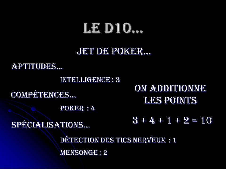 Le D10… jet de poker… Intelligence Aptitudes… compétences… Poker spécialisations… Détection des tics nerveux Mensonge : 3 : 4 : 1 : 2 On additionne le