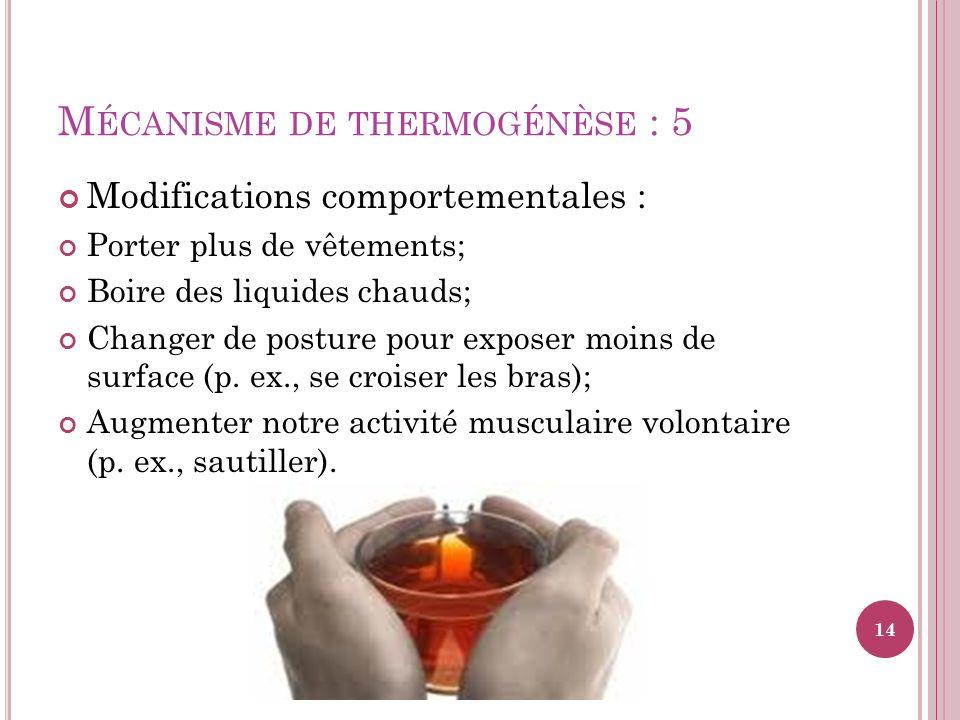 M ÉCANISME DE THERMOGÉNÈSE : 5 Modifications comportementales : Porter plus de vêtements; Boire des liquides chauds; Changer de posture pour exposer m