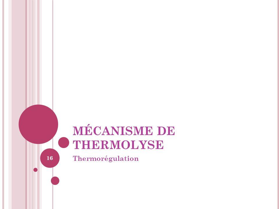 MÉCANISME DE THERMOLYSE Thermorégulation 16