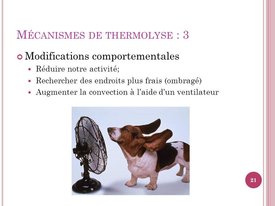 M ÉCANISMES DE THERMOLYSE : 3 Modifications comportementales Réduire notre activité; Rechercher des endroits plus frais (ombragé) Augmenter la convect