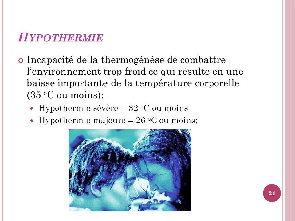 H YPOTHERMIE Incapacité de la thermogénèse de combattre lenvironnement trop froid ce qui résulte en une baisse importante de la température corporelle