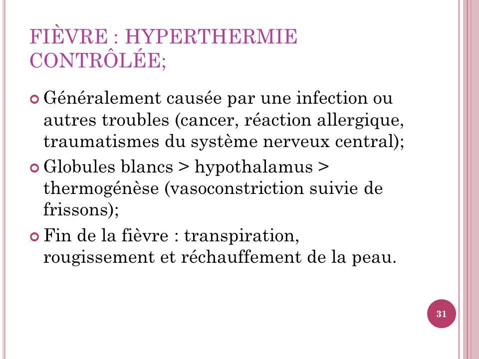 FIÈVRE : HYPERTHERMIE CONTRÔLÉE; Généralement causée par une infection ou autres troubles (cancer, réaction allergique, traumatismes du système nerveu