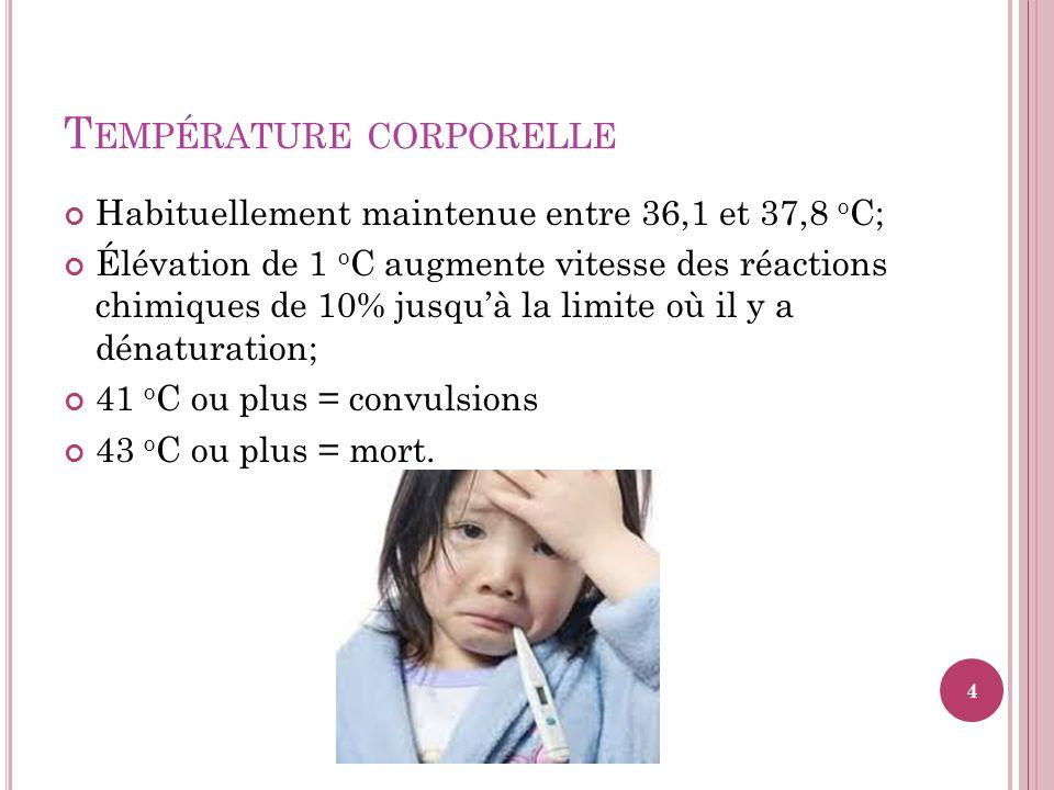 T EMPÉRATURE CORPORELLE Habituellement maintenue entre 36,1 et 37,8 o C; Élévation de 1 o C augmente vitesse des réactions chimiques de 10% jusquà la