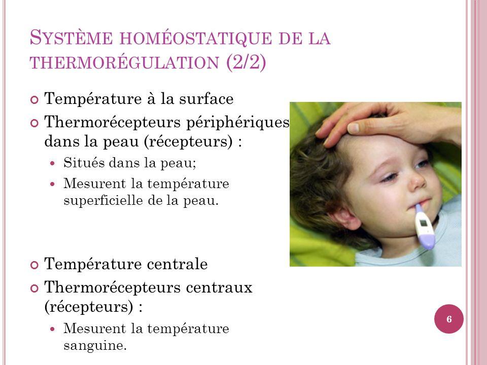 T HERMOLYSE Lorsque la température du corps augmente trop, il y a une inhibition de la thermogénèse au niveau de lhypothalamus et lun des deux ou les deux mécanismes de la thermolyse seront activés 17