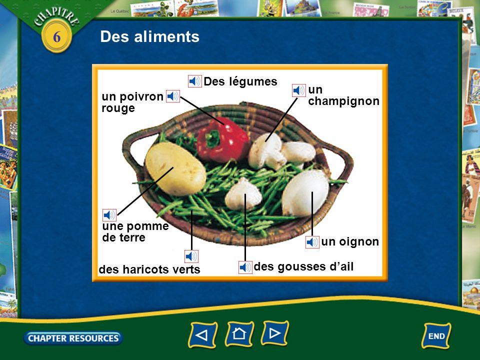 6 Des fruits une orange un pamplemousse un citron du raisin Des aliments