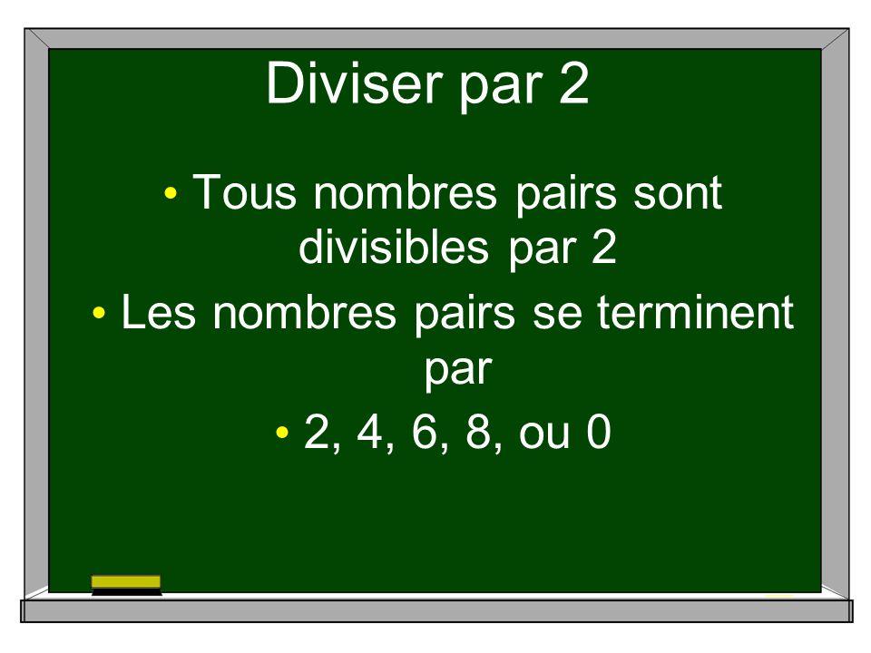 Diviser par 2 Tous nombres pairs sont divisibles par 2 Les nombres pairs se terminent par 2, 4, 6, 8, ou 0