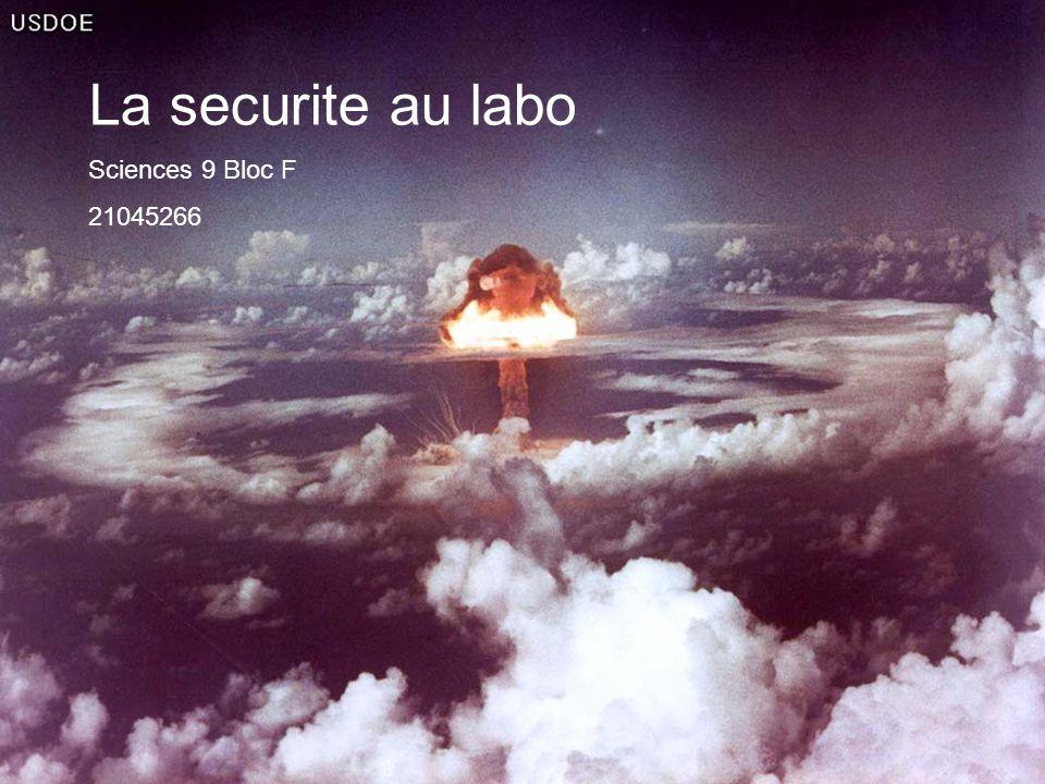 La securite au labo Sciences 9 Bloc F 21045266