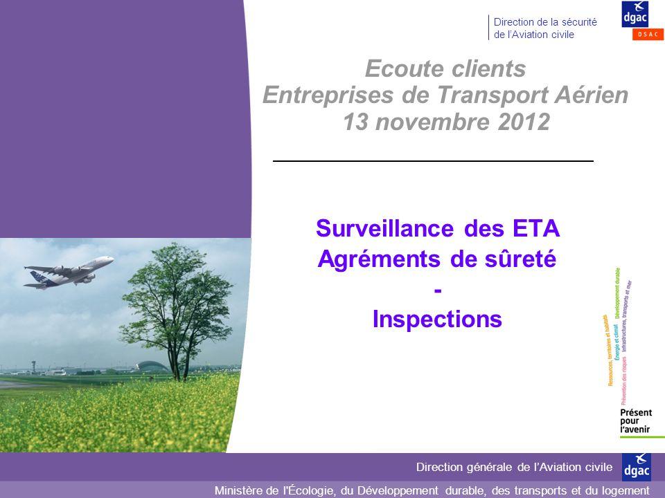 2 2 Direction générale de lAviation civile Direction de la sécurité de lAviation civile Surveillance des compagnies aériennes En matière de sûreté, deux types de surveillances Surveillance dite « normalisée » Autres actions de surveillance Inspections Audits Agrément Actions ciblées (inspections) Contrôles au fil de leau