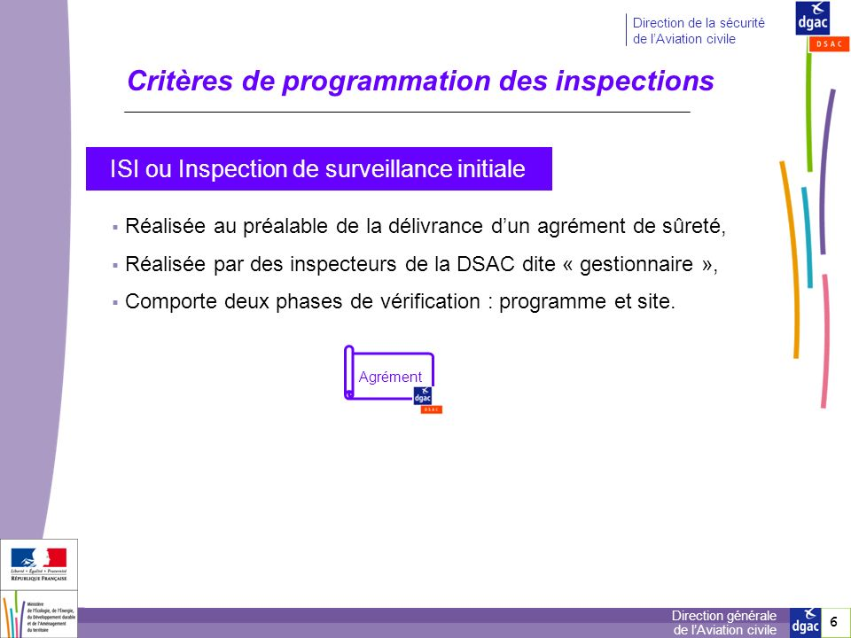 6 6 Direction générale de lAviation civile Direction de la sécurité de lAviation civile Critères de programmation des inspections Agrément ISI ou Insp