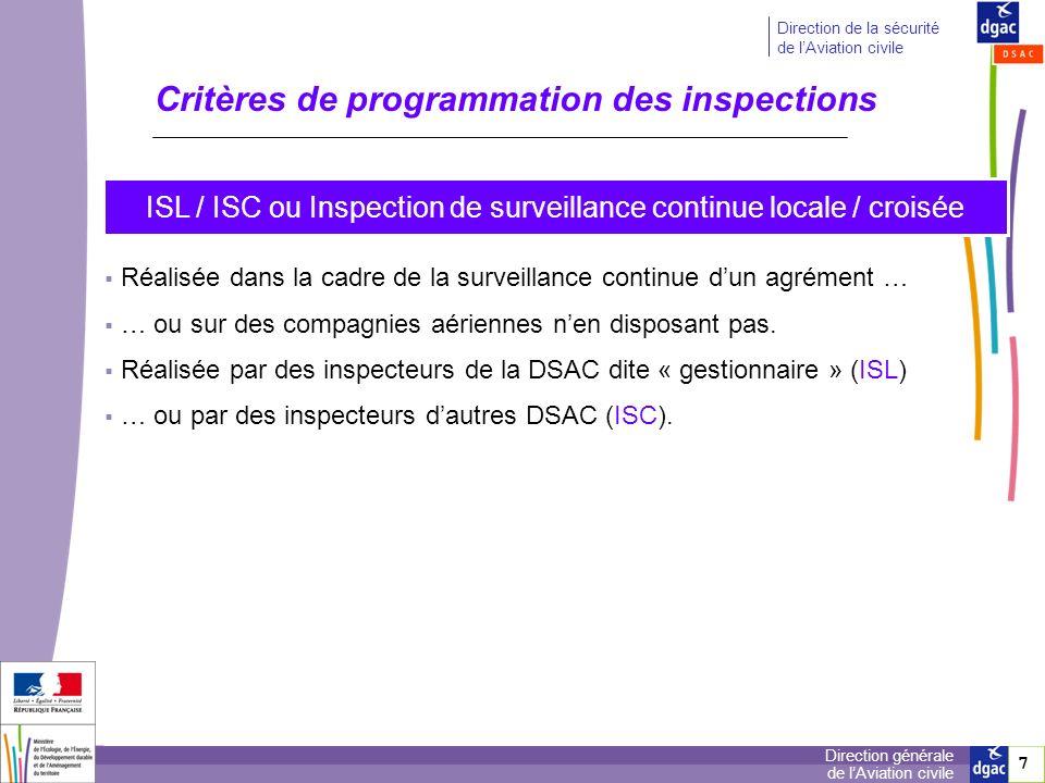 7 7 Direction générale de lAviation civile Direction de la sécurité de lAviation civile Critères de programmation des inspections ISL / ISC ou Inspect