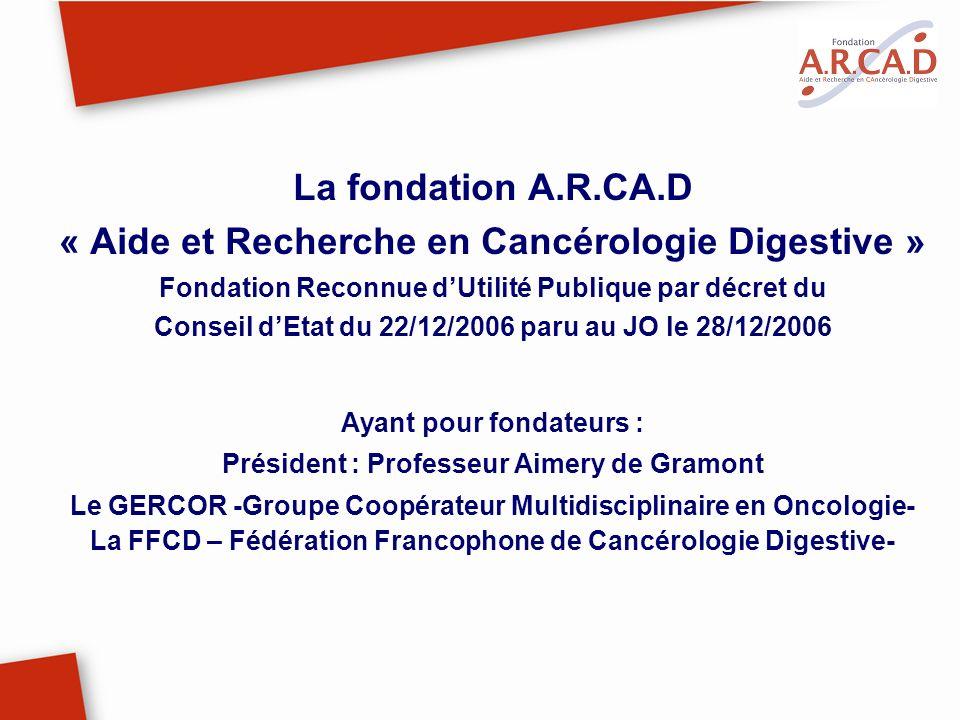 La fondation A.R.CA.D « Aide et Recherche en Cancérologie Digestive » Fondation Reconnue dUtilité Publique par décret du Conseil dEtat du 22/12/2006 p