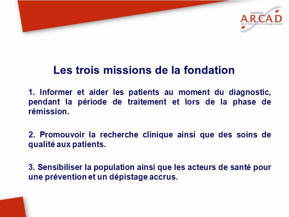 Les trois missions de la fondation 1. Informer et aider les patients au moment du diagnostic, pendant la période de traitement et lors de la phase de