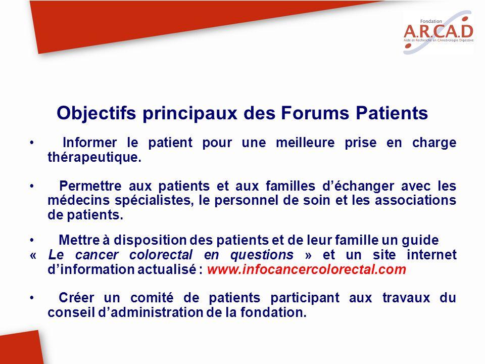 Objectifs principaux des Forums Patients Informer le patient pour une meilleure prise en charge thérapeutique. Permettre aux patients et aux familles