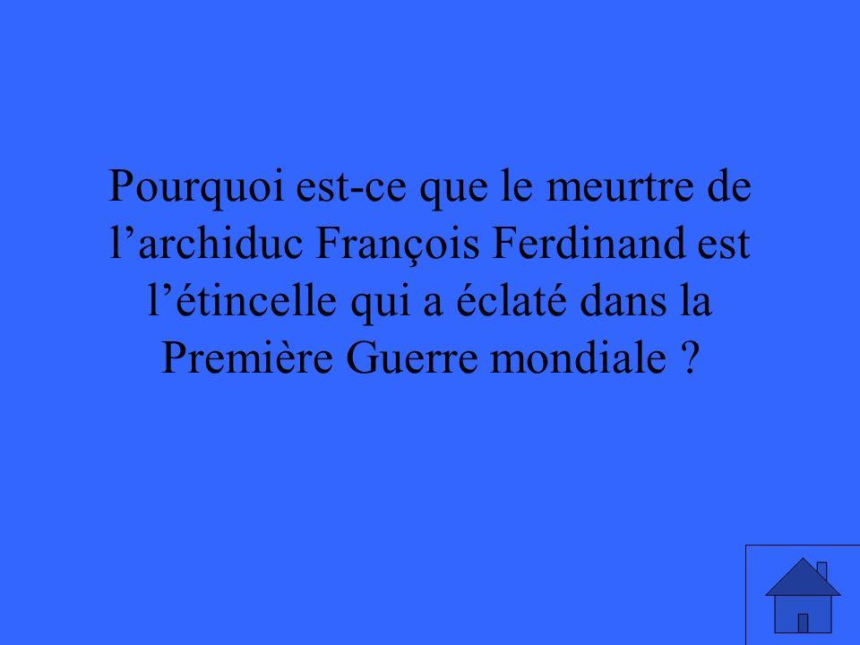 Pourquoi est-ce que le meurtre de larchiduc François Ferdinand est létincelle qui a éclaté dans la Première Guerre mondiale