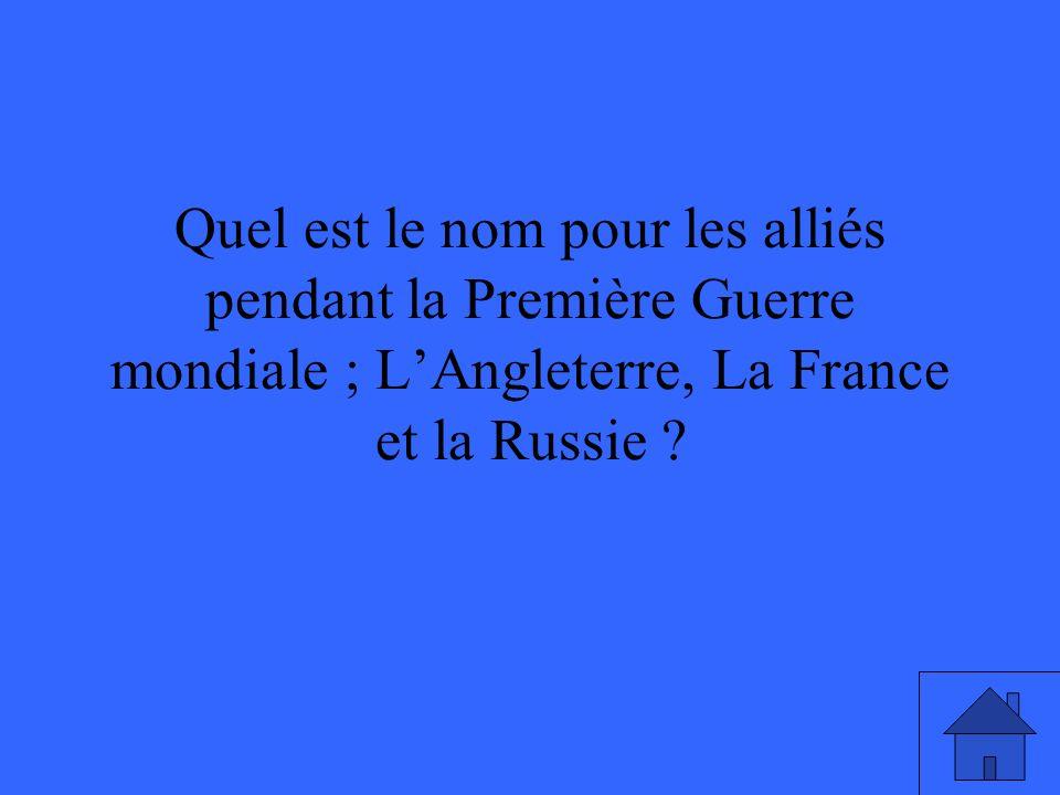 Quel est le nom pour les alliés pendant la Première Guerre mondiale ; LAngleterre, La France et la Russie