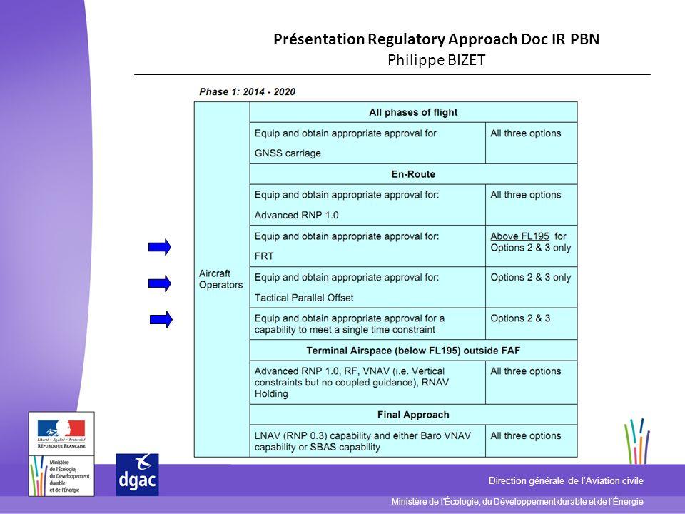 Ministère de l'Écologie, du Développement durable et de lÉnergie Direction générale de lAviation civile Présentation Regulatory Approach Doc IR PBN Ph