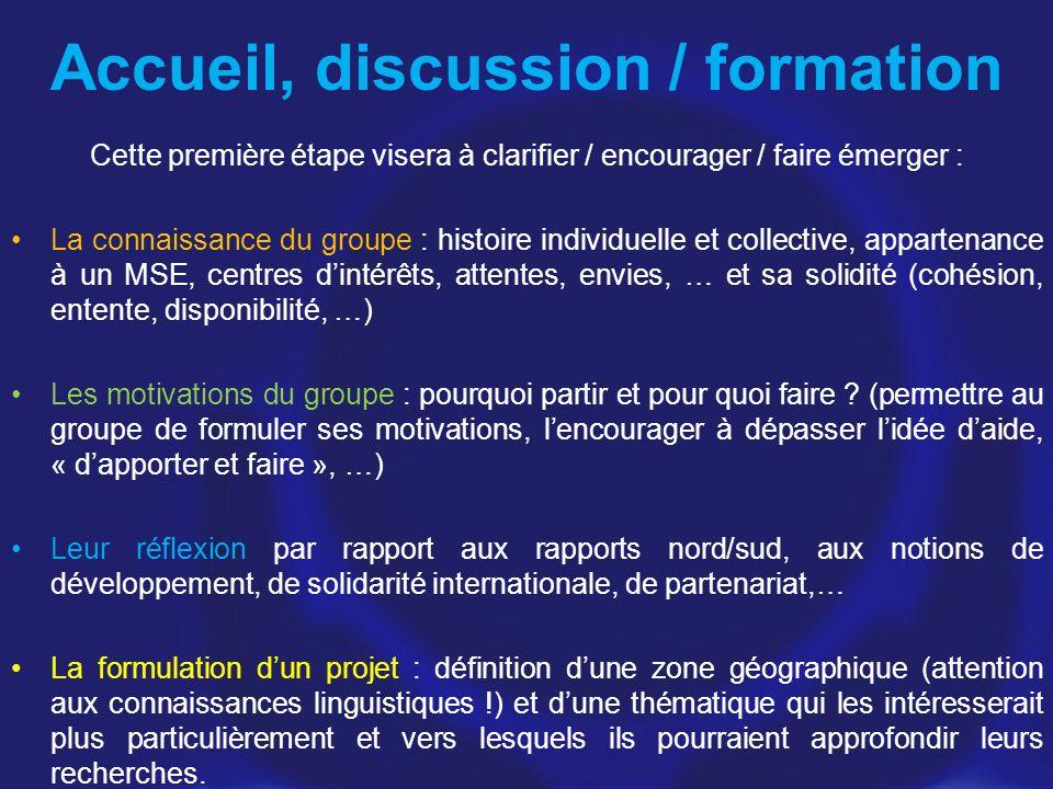 Accueil, discussion / formation Cette première étape visera à clarifier / encourager / faire émerger : La connaissance du groupe : histoire individuel