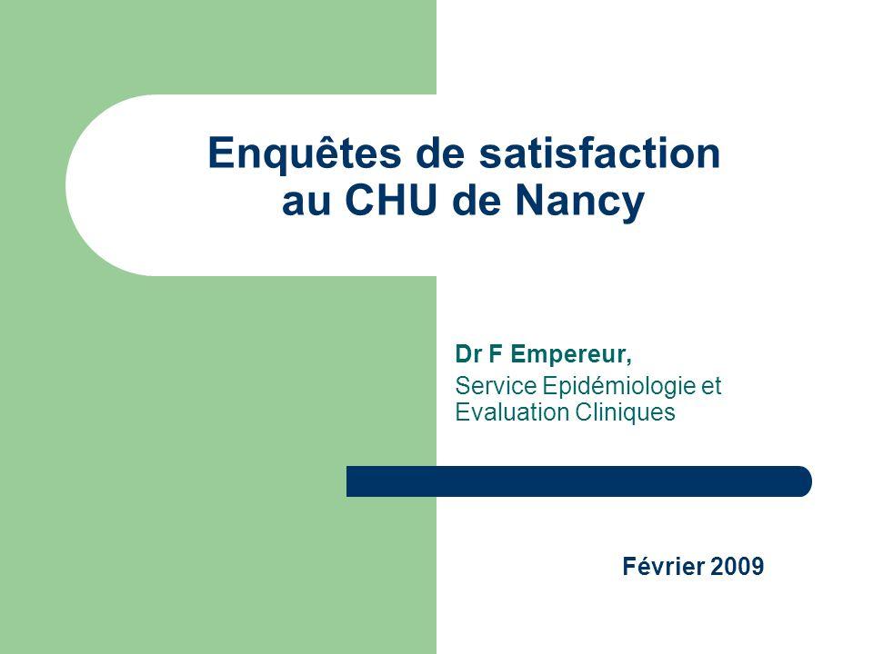 Enquêtes de satisfaction au CHU de Nancy Dr F Empereur, Service Epidémiologie et Evaluation Cliniques Février 2009