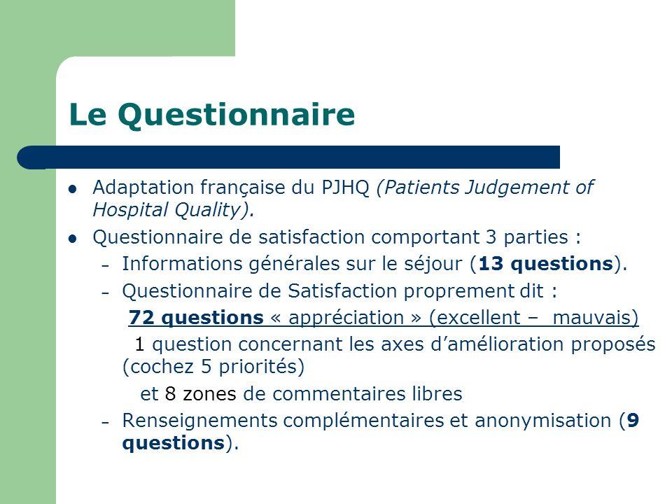 Le Questionnaire Adaptation française du PJHQ (Patients Judgement of Hospital Quality). Questionnaire de satisfaction comportant 3 parties : – Informa