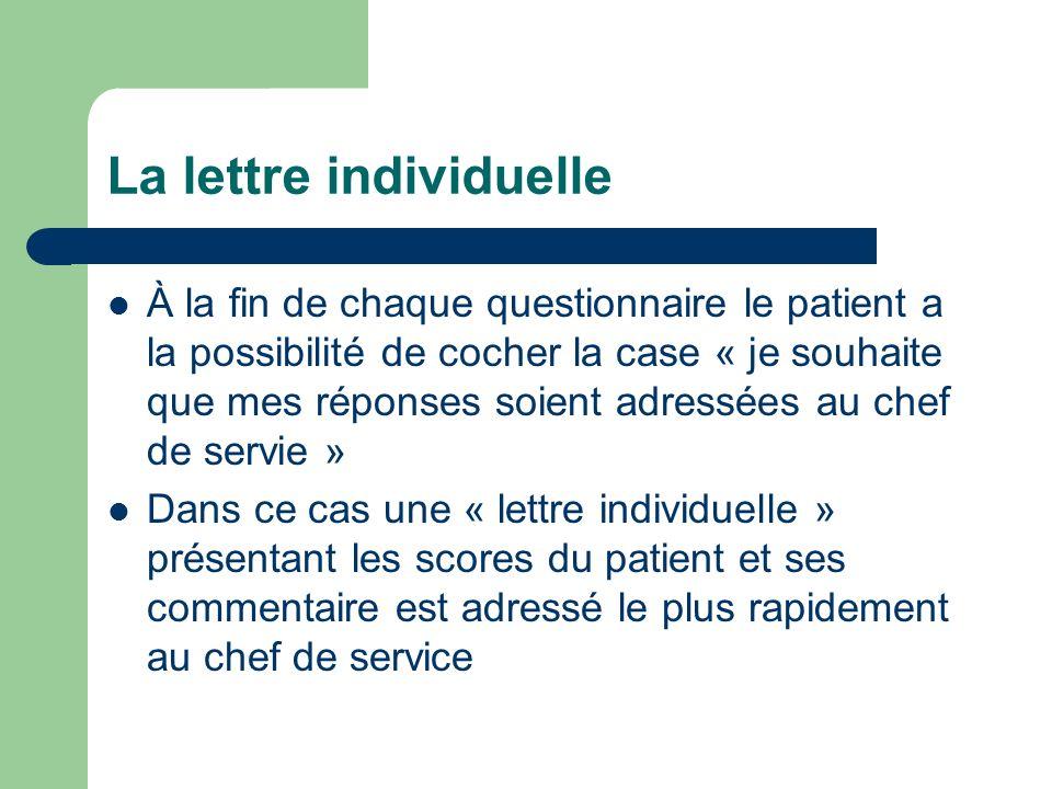 La lettre individuelle À la fin de chaque questionnaire le patient a la possibilité de cocher la case « je souhaite que mes réponses soient adressées