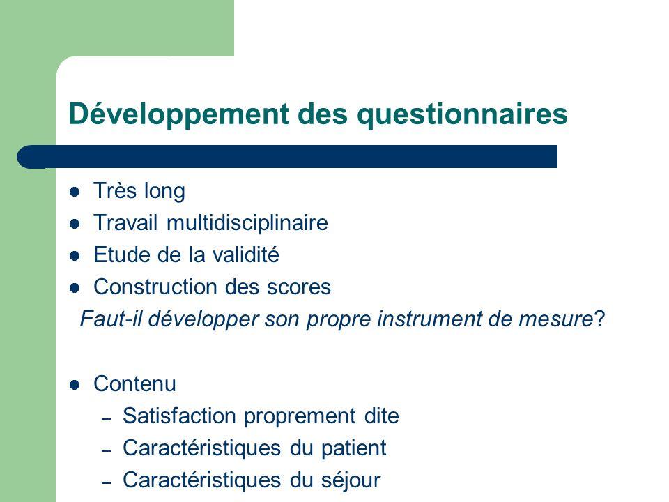 Développement des questionnaires Très long Travail multidisciplinaire Etude de la validité Construction des scores Faut-il développer son propre instr