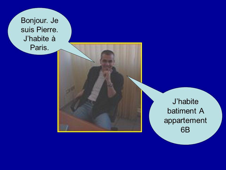 Bonjour. Je suis Pierre. Jhabite à Paris. Jhabite batiment A appartement 6B
