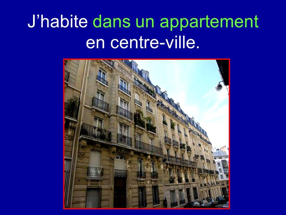 Jhabite dans un appartement en centre-ville.