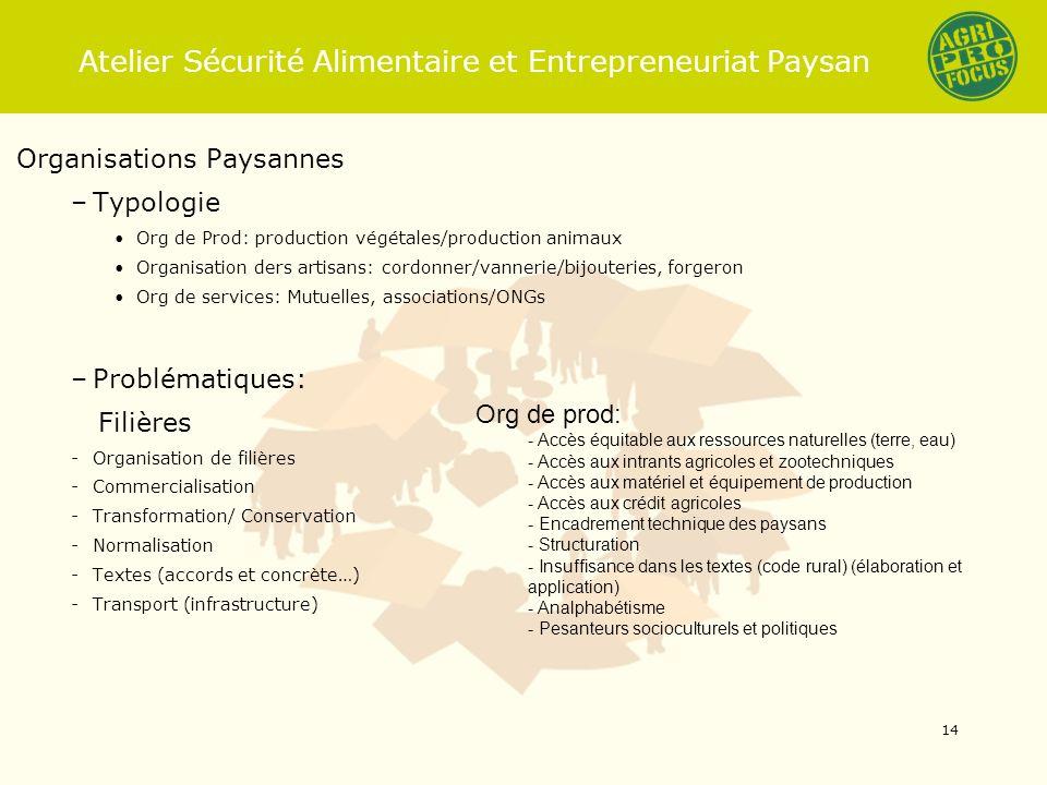 Atelier Sécurité Alimentaire et Entrepreneuriat Paysan Organisations Paysannes –Typologie Org de Prod: production végétales/production animaux Organis