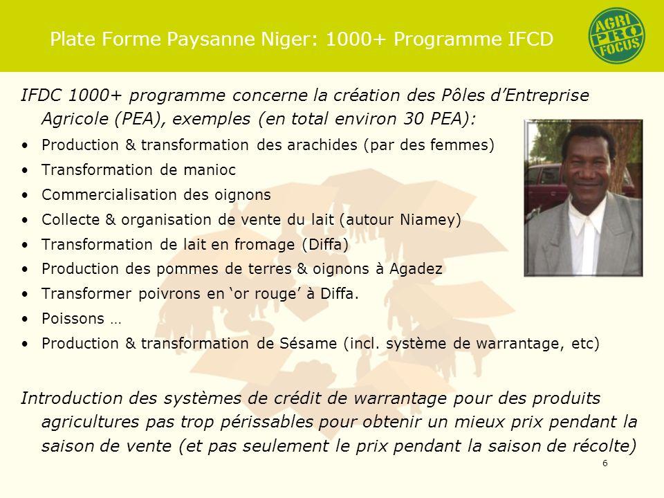 Plate Forme Paysanne Niger: 1000+ Programme IFCD IFDC 1000+ programme concerne la création des Pôles dEntreprise Agricole (PEA), exemples (en total environ 30 PEA): Production & transformation des arachides (par des femmes) Transformation de manioc Commercialisation des oignons Collecte & organisation de vente du lait (autour Niamey) Transformation de lait en fromage (Diffa) Production des pommes de terres & oignons à Agadez Transformer poivrons en or rouge à Diffa.