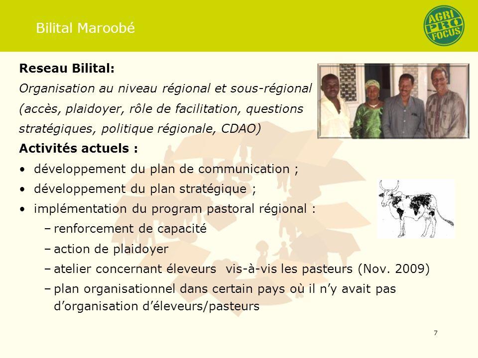 Bilital Maroobé Reseau Bilital: Organisation au niveau régional et sous-régional (accès, plaidoyer, rôle de facilitation, questions stratégiques, poli