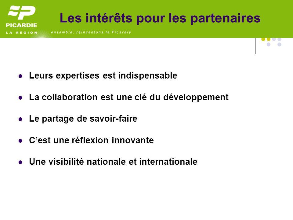 Leurs expertises est indispensable La collaboration est une clé du développement Le partage de savoir-faire Cest une réflexion innovante Une visibilité nationale et internationale Les intérêts pour les partenaires