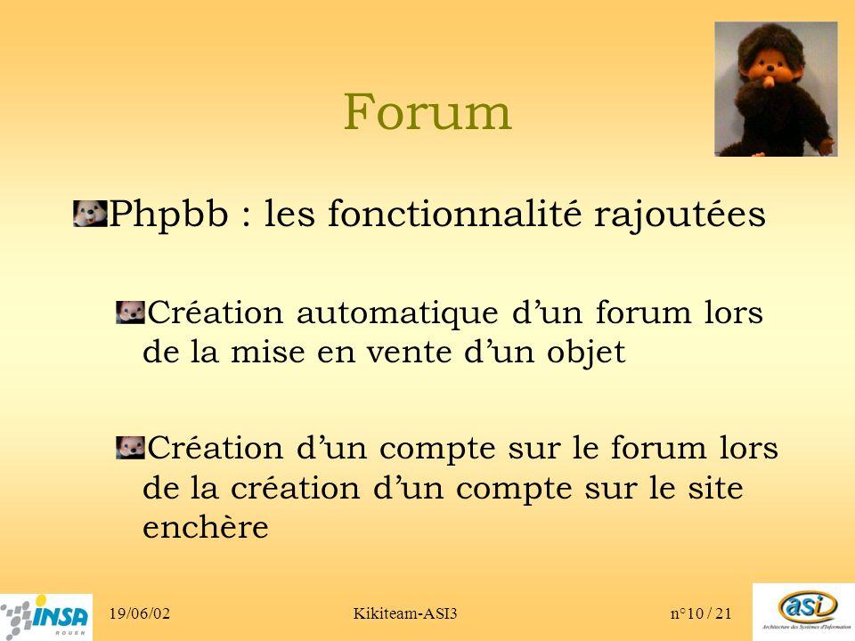 19/06/02Kikiteam-ASI3n°10 / 21 Forum Phpbb : les fonctionnalité rajoutées Création automatique dun forum lors de la mise en vente dun objet Création dun compte sur le forum lors de la création dun compte sur le site enchère