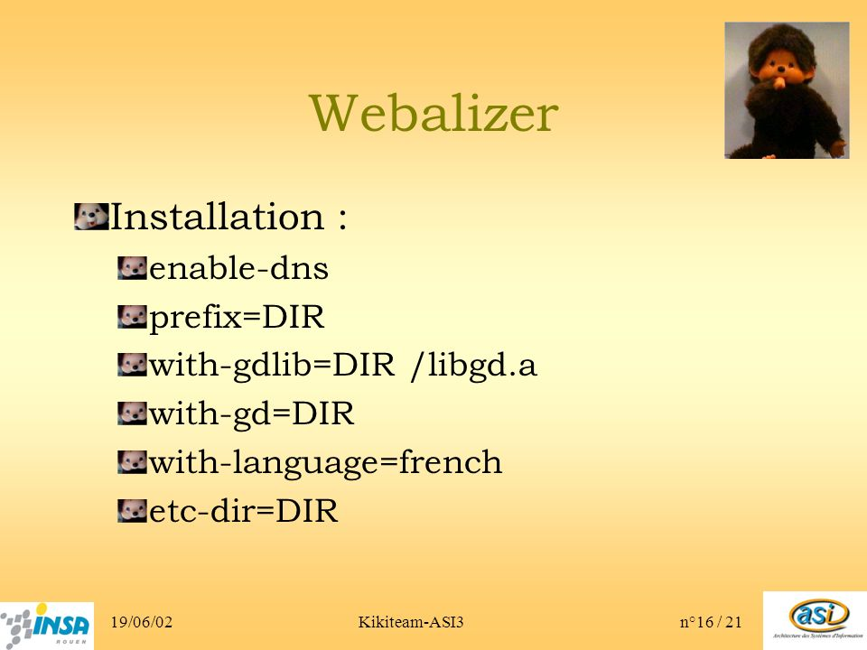 19/06/02Kikiteam-ASI3n°16 / 21 Webalizer Installation : enable-dns prefix=DIR with-gdlib=DIR /libgd.a with-gd=DIR with-language=french etc-dir=DIR