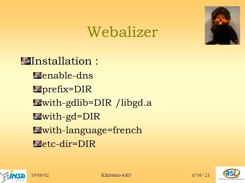 19/06/02Kikiteam-ASI3n°16 / 21 Webalizer Installation : enable-dns prefix=DIR with-gdlib=DIR /libgd.a with-gd=DIR with-language=french etc-dir=DIR