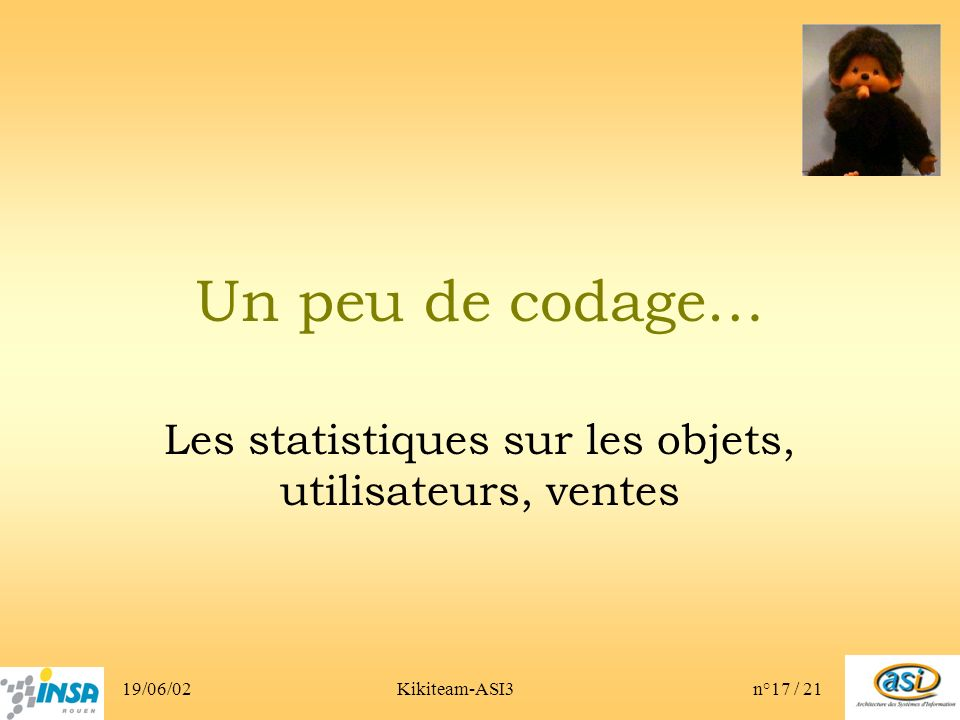 19/06/02Kikiteam-ASI3n°17 / 21 Un peu de codage… Les statistiques sur les objets, utilisateurs, ventes