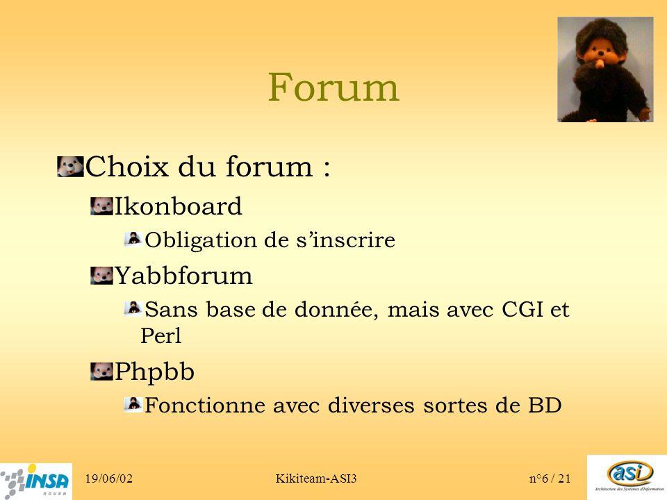 19/06/02Kikiteam-ASI3n°6 / 21 Forum Choix du forum : Ikonboard Obligation de sinscrire Yabbforum Sans base de donnée, mais avec CGI et Perl Phpbb Fonctionne avec diverses sortes de BD
