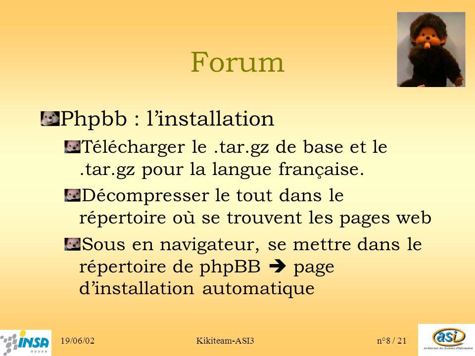 19/06/02Kikiteam-ASI3n°8 / 21 Forum Phpbb : linstallation Télécharger le.tar.gz de base et le.tar.gz pour la langue française.