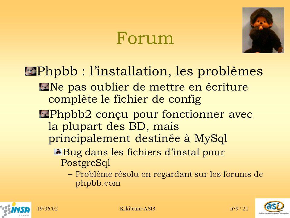 19/06/02Kikiteam-ASI3n°9 / 21 Forum Phpbb : linstallation, les problèmes Ne pas oublier de mettre en écriture complète le fichier de config Phpbb2 conçu pour fonctionner avec la plupart des BD, mais principalement destinée à MySql Bug dans les fichiers dinstal pour PostgreSql –Problème résolu en regardant sur les forums de phpbb.com