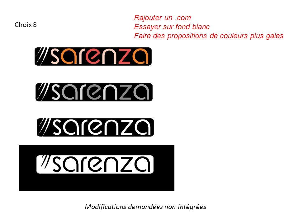 Choix 8 Modifications demandées non intégrées Rajouter un.com Essayer sur fond blanc Faire des propositions de couleurs plus gaies