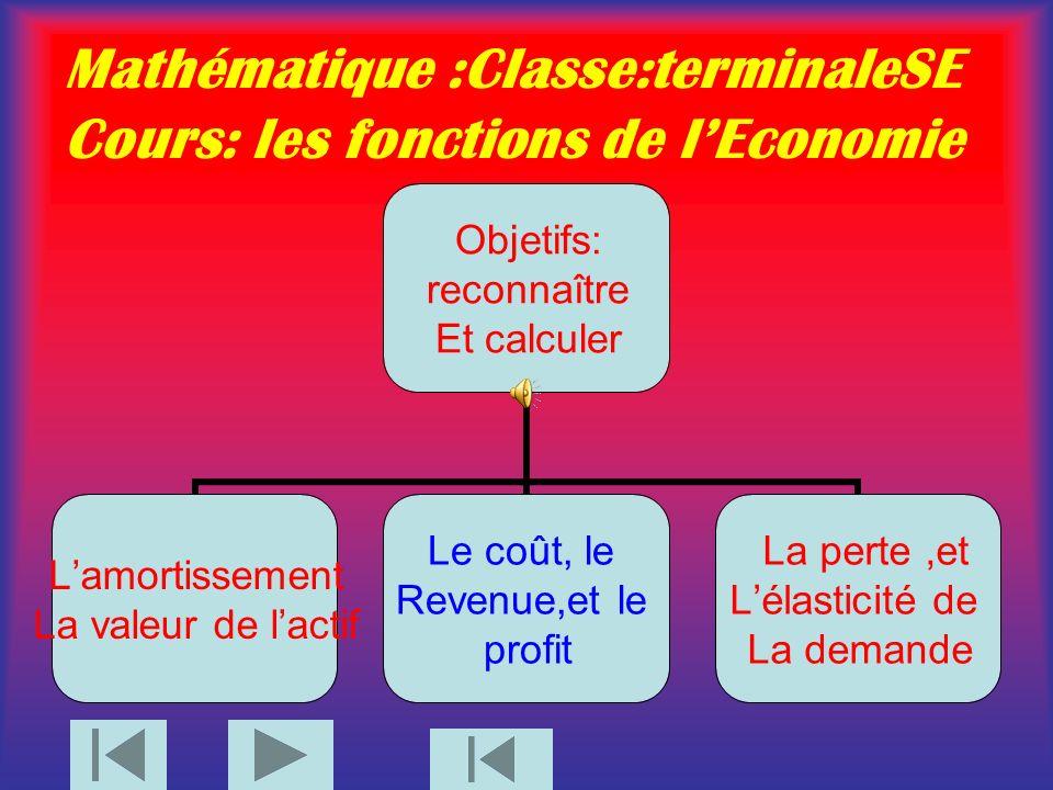 Mathématique :Classe:terminaleSE Cours: les fonctions de lEconomie Objetifs: reconnaître Et calculer Lamortissement La valeur de lactif Le coût, le Revenue,et le profit La perte,et Lélasticité de La demande